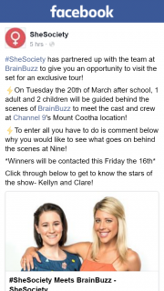 SheSociety – Win a Behind The Scenes Tour of Brainbuzz Brisbane