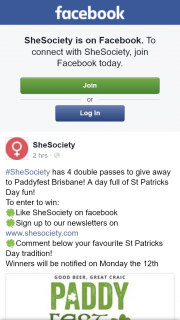 SheSociety – Win One of Four Double Passes to Paddyfest Brisbane