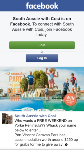 South Aussie With Cosi – Two Nights (weekends Included (prize valued at $250)