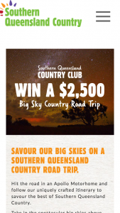 Southern Queensland Country Tourism – Win a Big Sky Country Road Trip (prize valued at $2,500)