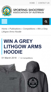 SSAA – Win a Grey Lithgow Arms Hoodie (prize valued at $80)