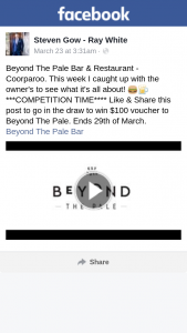 Steven Gow – Win $100 Voucher to Beyond The Pale (prize valued at $100)