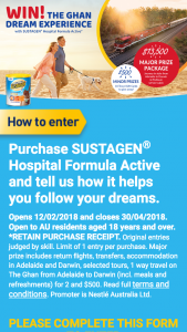Sustagen Hospital Formula – Win The Ghan Dream Experience Or 1 of 10 $500 Flight Centre Gift Card (prize valued at $18,500)