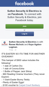 Sutton Security & Electrics – Win an Easter Hamper (prize valued at $40)