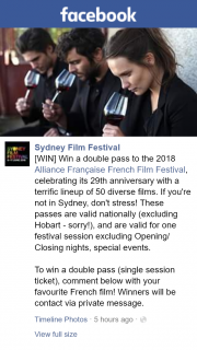 Sydney Film Festival – Win a Double Pass (single Session Ticket) Comment Below With Your Favourite French Film