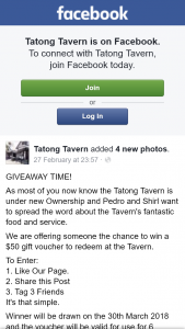 Tatong Tavern – Win a $50 Gift Voucher to Redeem at The Tavern