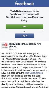 Techguide – Win Huawei Mate10 Pro Smartphone (prize valued at $1,099)
