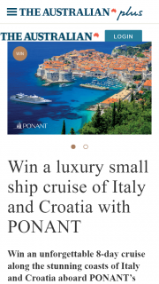 The Australian Plus – Win an Unforgettable 8-day Cruise Along The Stunning Coasts of Italy and Croatia Aboard Ponant's Luxury Small Ship (prize valued at $17,340)