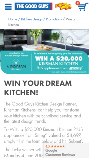The Good Guys – Win a $20000 Kinsman Kitchen Plus Appliances From Smeg Competition (prize valued at $20,000)