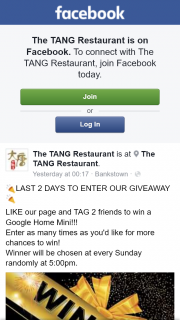 The Tang Restaurant – Win a Google Home Mini
