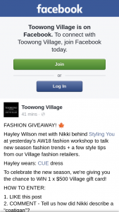 Toowong Village – Win 1 X $500 Village Gift Card