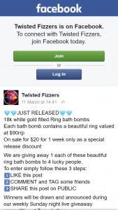 Twisted Fizzers – Win an 18k White Gold Filled Ring Bath Bombs (prize valued at $90)