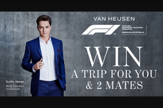 Van Heusen Mentor Event – Win a Trip for You and Two Mates (prize valued at $9,805)
