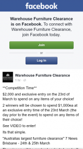 Warehouse Furniture Clearance – Win One of Two $1000 Sale Credit to Use at Sale on 23 March Brisbane (prize valued at $2,000)