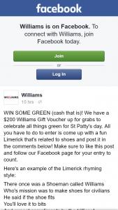Williams – Win $200 Williams Gift Voucher