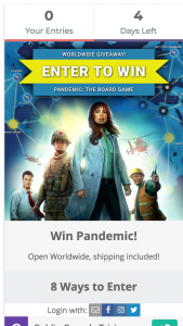 Win Pandemicthe Board Gaming From Silver Gaming (prize valued at $59)
