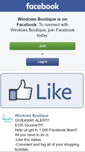 Windows Boutique – Win $100 Voucher When Reach 1000 Likes (prize valued at $100)