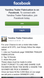 Yandina Trailer Fabrication – Win a Motor Bike Trailer Valued at $1670 Just Simply Follow The Steps Below (prize valued at $1,670)