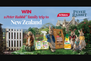 Yates – Win a Family Holiday to New Zealand Valued at $10000 (prize valued at $80)