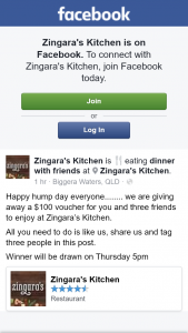 Zingara's Kitchen – Win $100 Voucher