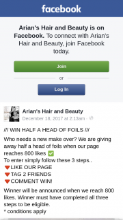 Arian's Hair and Beauty – Win Half Head of Foils – Aldinga Sa