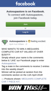 Autosupastore – Win a Meguiars Complete Car Kit Valued at Over $150?? (prize valued at $150)