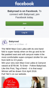 Babyroad – Win Your Very Own Maxi Cosi Laika & Carrycot Valued at $749.98. (prize valued at $749.98)
