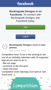 Beckingsale Designs – Win One of Our Birthday Calendars With 25 Engraved Tags All You Need to Do Is