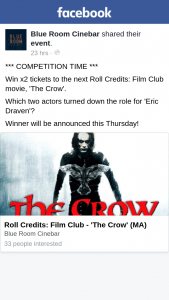 Blue Room Cinebar – X2 Tickets to The Next Roll Credits