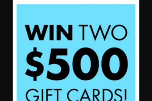 Bonds – 'win Two $500 Gift Cards' Competition (prize valued at $1,000 AUD..)