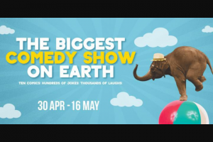 Community News – Win 1 of 15 Double Passes to The Biggest Comedy Show on Earth 28 Or 29 April at The Hellenic Club
