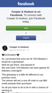 Cooper & Hudson – Win a One Off Code to Use $60 Credit Towards Their Purchase (prize valued at $60)