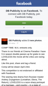 DB Publicity – Win One of Five Loveless Double Passes Wa Only