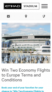 Etihad Stadium – Win Two Economy Flights to Europe Terms and Conditions (prize valued at $5,000)