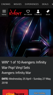 Event Cinemas – Win One of Ten Avengers Infinity Warpop Vinyl Sets