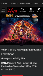 Event Cinemas-Greater Union – Win One of Fifty Marvel Infinity Stone Collections
