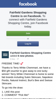 Fairfield Gardens Shopping Centre – to One Lucky (prize valued at $50)
