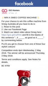 Go Homes – Win this Coffee Machine From Smeg Australia All You Have to Do Is