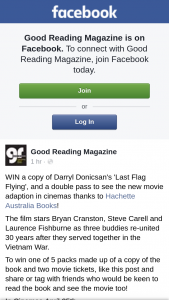 Good Reading – Win a Copy of Darryl Donicsan's 'last Flag Flying' and a Double Pass to See The New Movie Adaption In Cinemas Thanks to Hachette Australia Books