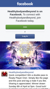 healthybodyandbeyond – Win a Double Pass to Ready Player One