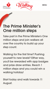 Heart Foundation – Prime Ministers One Million Steps / – Win a Voucher From Participating Retailers (prize valued at $3,400)