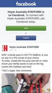 Hoyts cinemas Stafford – Win a Family Pass to See Any G Or Pg Movie at Hoyts Stafford Cinemas