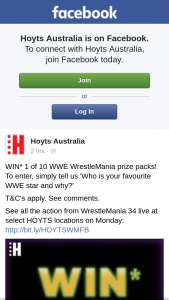 Hoyts – Win One of Ten Wwe Wrestlemania Prize Packs