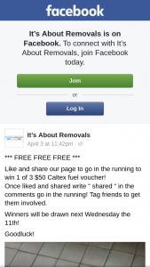 It's About Removals – Win 1 of 3 $50 Caltex Fuel Voucher (prize valued at $150)