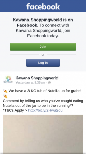 Kawana Shoppingworld – Win a 3kg Tub of Nutella Must Collect
