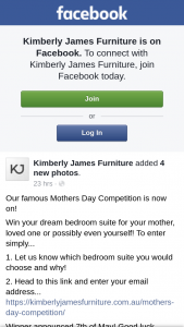 Kimberly James Furniture – Win Your Dream Bedroom Suite for Your Mother