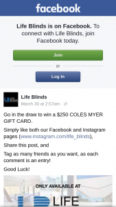 Life Blinds – Win a $250 Coles Myer Gift Card (prize valued at $250)
