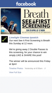 Limelight Cinemas Ipswich – 2 Double Passes to this Screening