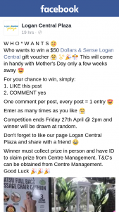 Logan Central Plaza – Win a $50 Dollars & Sense Logan Central Gift Voucher .