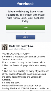 Made with Nanny Love – Win 1 of 5 Mothers Day Tshirt Or Cushion Cover